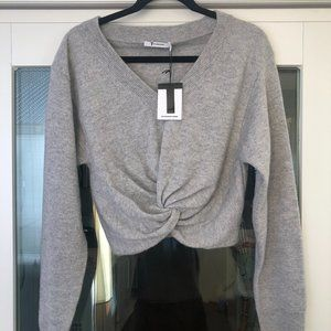 T by Alexander Wang Twist-Front Crop Sweater (NWT)